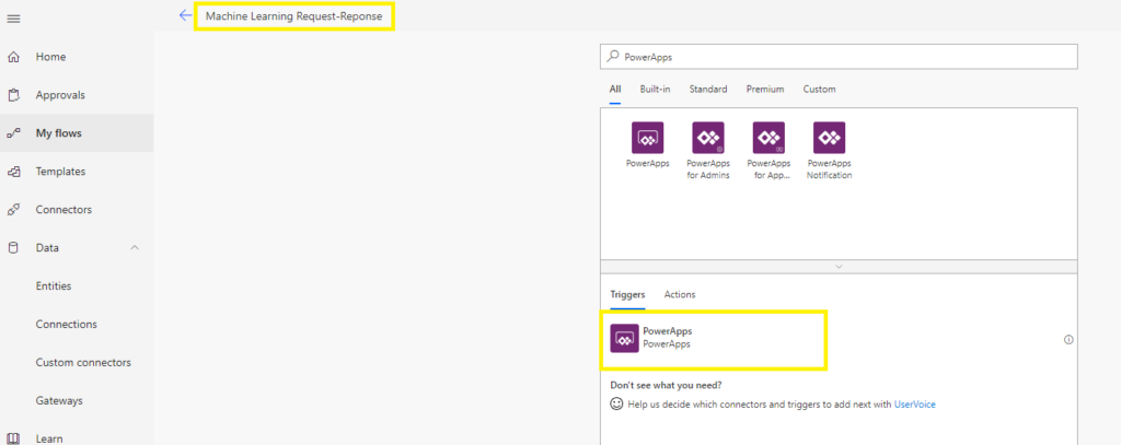 PowerApps Flow Screen1