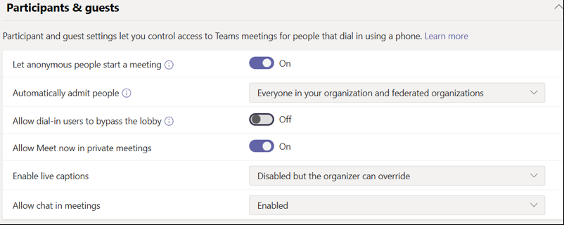 Microsoft Teams Meeting Settings 2